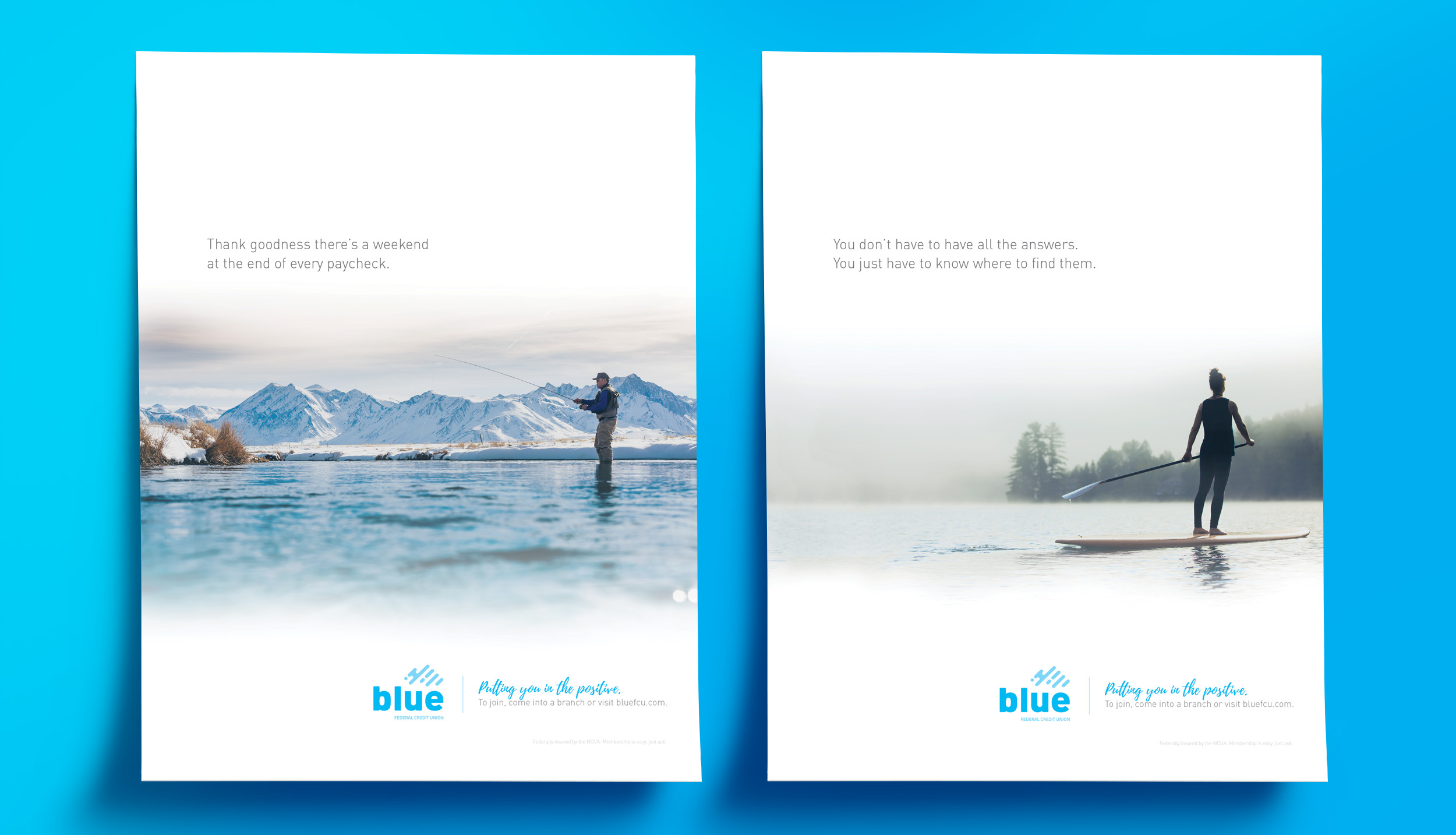 Blue mockup posters port two
