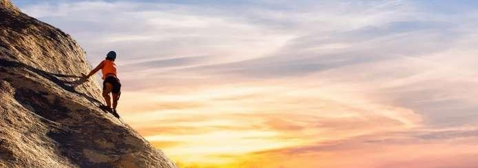 Small negative space rock climber sunset pixabay copy
