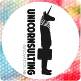 Small unicornsulting round logo withflowers