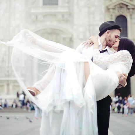 Wedding couple kissing street happiness
