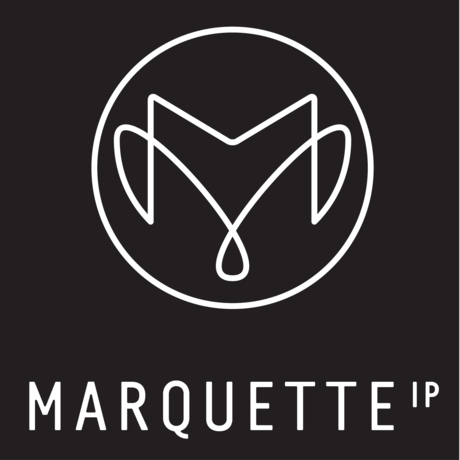 2019 marquette   ip   monogram   logo   white on black