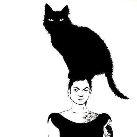 Self portrait with cat in black ink